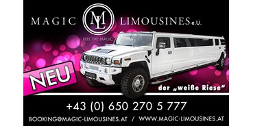 Hochzeitsauto-Vermietung - Shuttle Service - Tiroler Unterland - HUMMER Limousinevon Magic Limousines